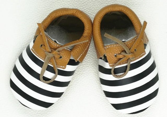 Retail Genuine Leather Baby moccasins shoes bebe girls and boy Stripe First Walkers Infant Newborn Shoes Free shipping