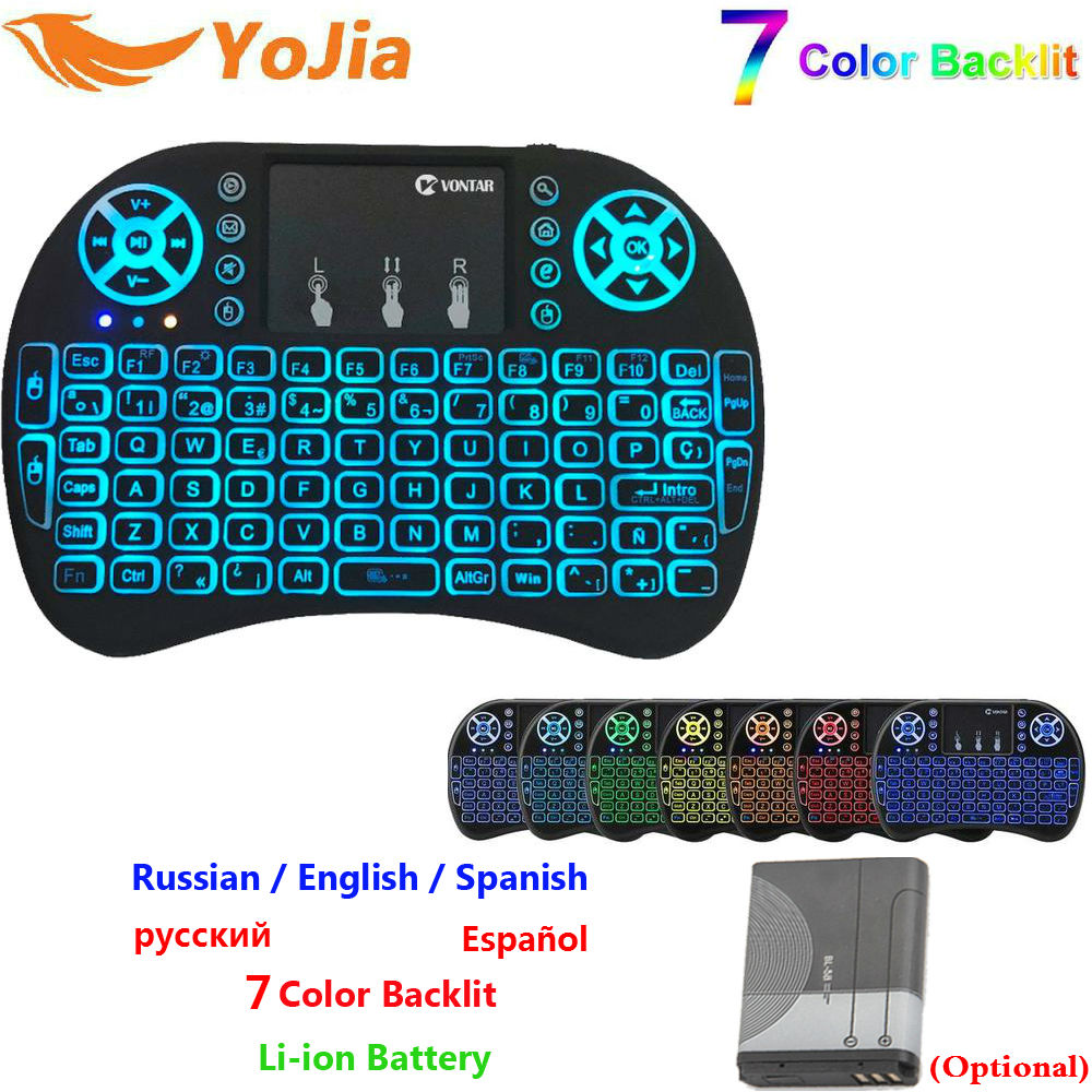7 farbe Hintergrundbeleuchtung mini i8 2,4 ghz Wireless Tastatur Russisch Spanisch Englisch Version Air Maus Touchpad i8 Backlit Für Android BOX