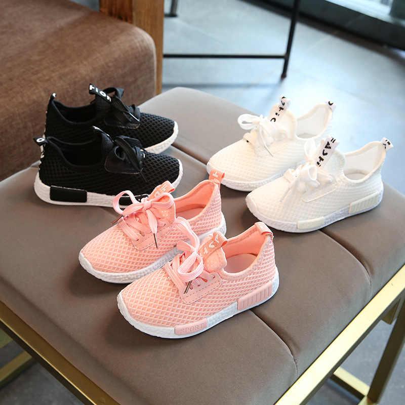 2018 מכירה לוהטת ילדים של נעלי אביב סתיו בני בנות אופנה נוח לנשימה באיכות גבוהה אנטי להחליק ילד ספורט נעליים