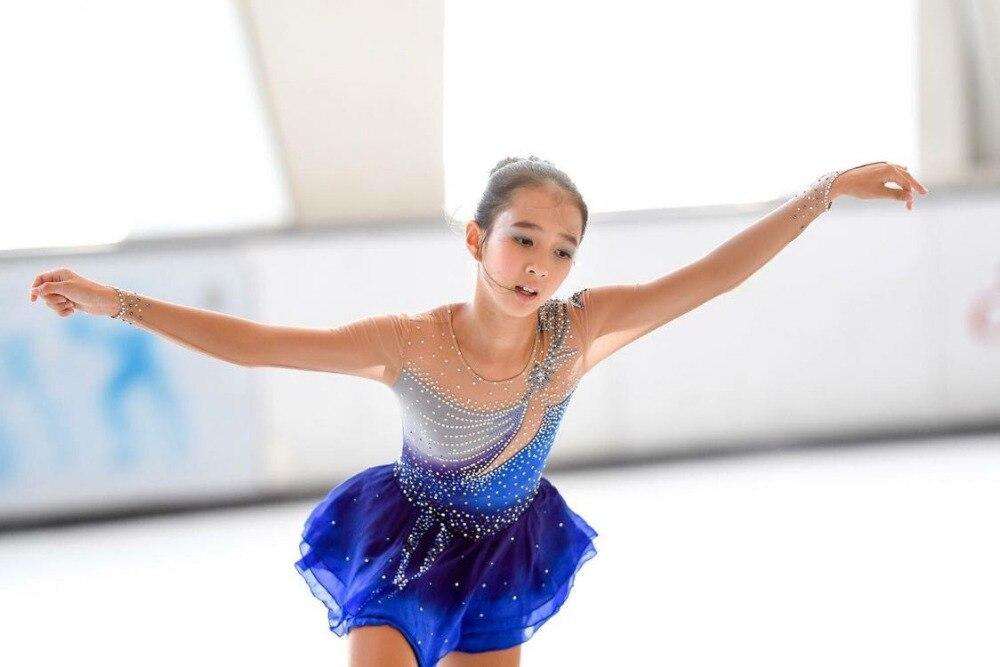 blue figure skating dresses girls ice skating dress kids competition skating dress custom clothing free shipping