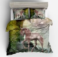 3d fashion white unicorn printed High quality bedding sets girls gift Long hair unicorn Violet duvet cover pillow case full size