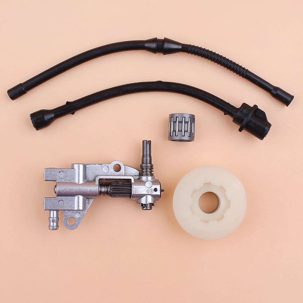Oil Pump Worm Gear Fuel Hose Bearing Kit For 4500 5200 5800 Chinese Chainsaw 52cc 45cc 58cc Gasoline Saws Replacement Parts