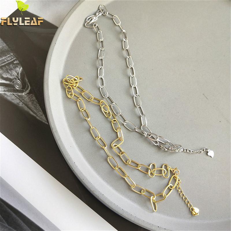 100% Jóias de Prata Esterlina 925 Corrente de Ouro Colar Gargantilha Folha em Branco de Alta Qualidade Simples Moda Personalidade Colar Curto Mulheres