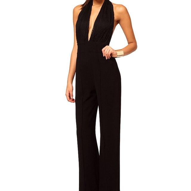 2016 Elegante Mamelucos de Las Mujeres Mono de La Manera Mono Playsuits Pantalones Largos combinaison femme trajes catsuit de Encaje negro Sólido