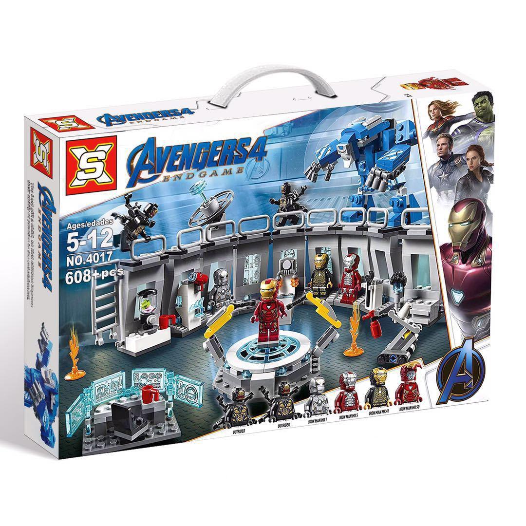 608pcMarvel Avengers Endgame Iron Man Hall of Armor Building Blocks Kit Bricks Classic Movie Model Kids Toys Compatible Legoings