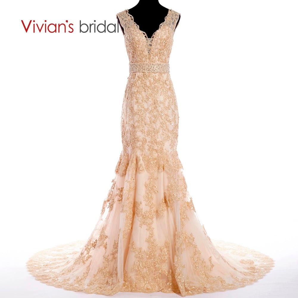 Vivian Wedding Gown: Vivian's Bridal Crystal Appliques Champagne Wedding Dress