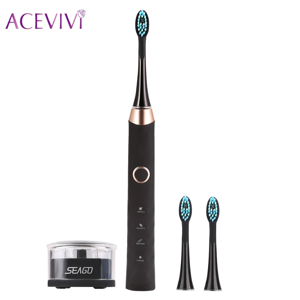 ACEVIVI Brand USB Rechargeable Sonic Electric Toothbrush Tooth Brushes With 3 Pcs Replacement Heads acevivi ultrasonic sonic electric toothbrush usb charge rechargeable with replacement heads 3 brushing modes