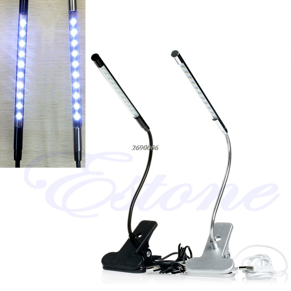 Cherokee Led Uplight Gooseneck Light: Clip On 10 LED USB Light Flexible Gooseneck Reading Touch