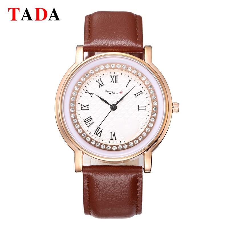 d4b6218e1811b Mulheres Relógios Pulseira de Couro Genuíno Da Marca Tada Roman Cristal Moda  À Prova D  Água Senhoras Casuais Relógio de Quartzo relogio feminino