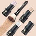 3 Colors  Face Highlighter Makeup Stick Shimmer Highlighting Powder Cream + Cosmetic Makeup Brushes Foundation Powder Blush Set
