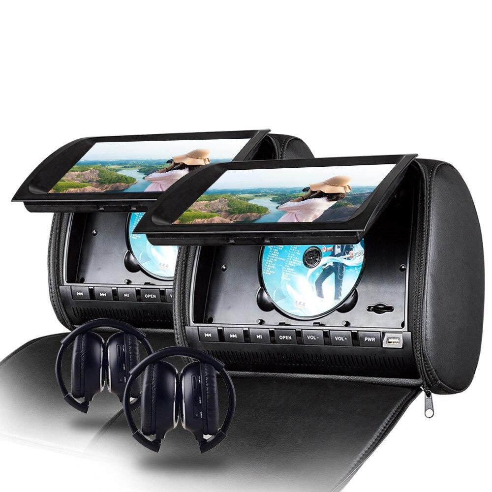 2 pcs auto Poggiatesta 9 ''Auto Touch Screen Poggiatesta DVD con FM SD USB IR Senza Fili del Gioco di copertura della Chiusura Lampo