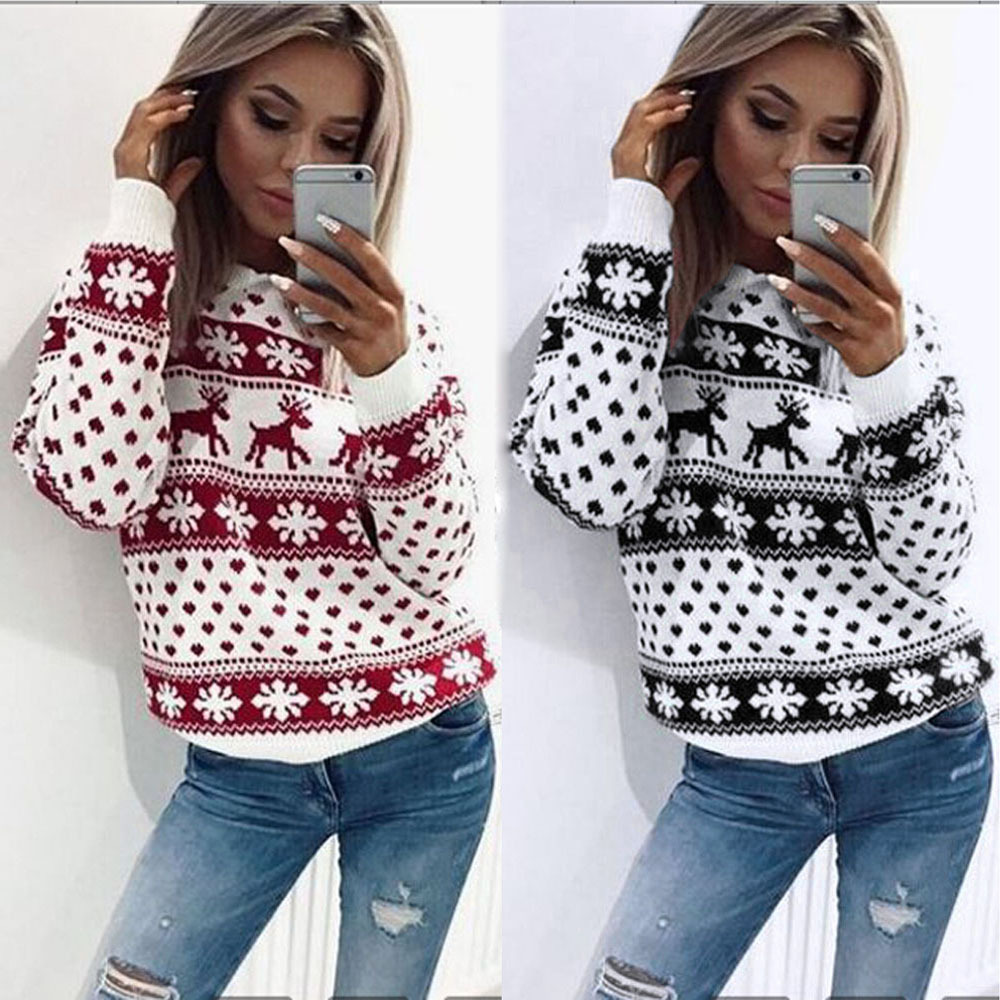 NEW Women Lady Jumper  Winter Christmas Sweater Deer Pullover Tops Coat Womens Ladies Warm Brief Sweaters Clothing streetwear