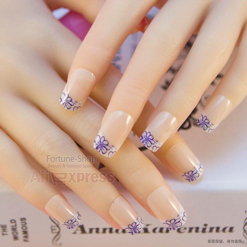 JQ 24pcs/set Acrylic Pre Designer Nail tips False French Nails Full ...
