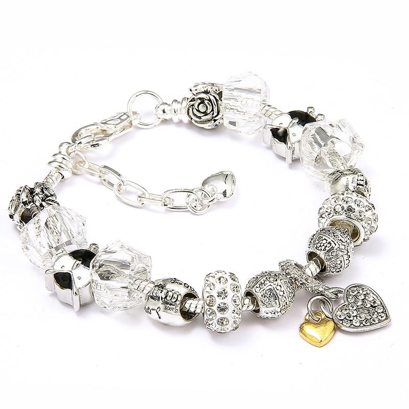 Crystal Heart Charm Bracelets & Bangles Silver Plated Brand Bracelets for Women Jewelry Pulseira Feminina Valentine's Day Gift