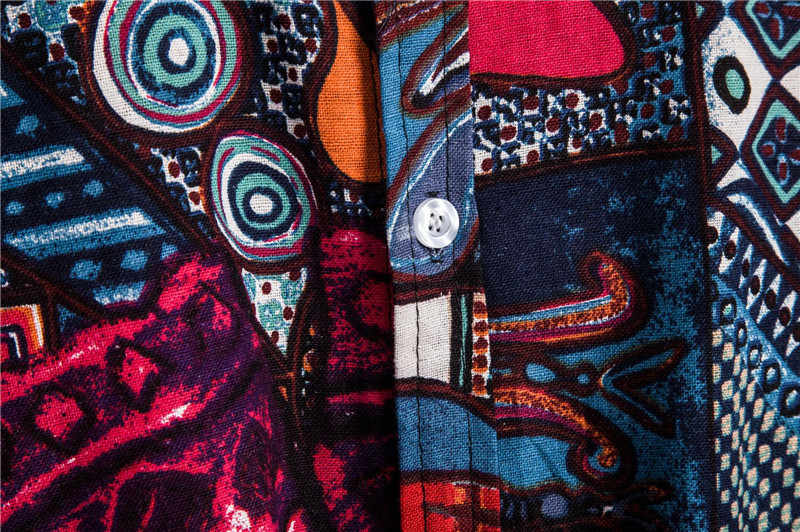 MJARTORIA ファッション秋カジュアル男性シャツスリムフィットフラワープリントリネンシャツ長袖シャツ男性花ソーシャル Masculina