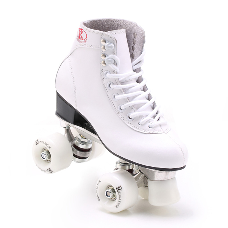 Double Roller Skates White Genuine Leather With White Wheels Two Side Roller Skate Patins Lady Skates Patines Adult Skate Shoes skate 2015 patins patins adulto reniaever