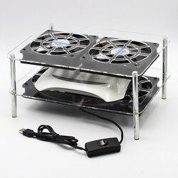 Wielu warstwa akrylowa router siatka do studzenia USB 12cm cichy z przełącznikiem wentylator chłodzący nadaje się do routerów/media pudełka /Xbox/skrzynka kablowa
