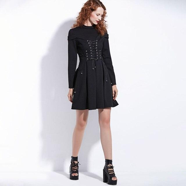 Women Black Winter Dress Autumn Long Sleeve A-Line Pleated Mini Dress Gothic Style Goth Patchwork Bandage Lace Up Vintage Dress 4