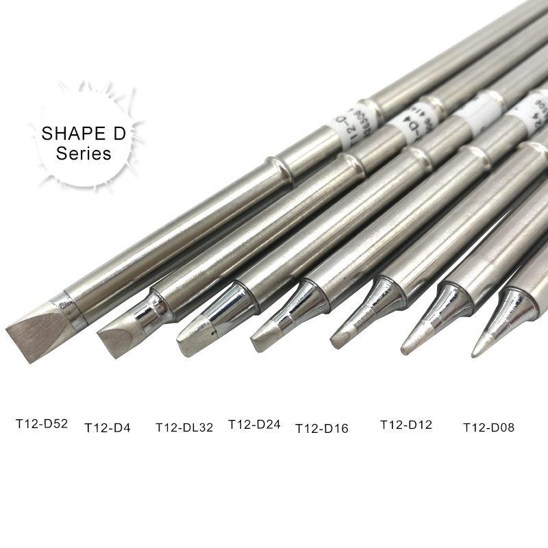 QUICKO SHAPE D Series T12 Soldering Iron Tips T12-D52 D4 DL32 D24 D16 D12 D08 For STC/STM32 LED/OLED Digital Controller