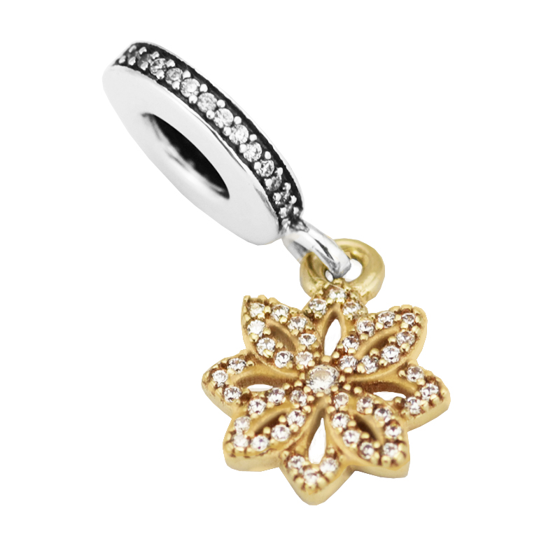 Fits For Pandora Bracelets Lace Botanique Charms with 14K Real Gold 100% Sterling Silver Beads Free Shipping