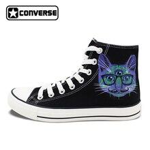 Оригинальные Converse All Star Мужская обувь Кроссовки Дизайн 3 глаза кошки ручной росписью парусиновая обувь женские брендовые All Star