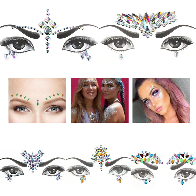 1 Sheet Handpicked Bohemia Tribal Style 3D Crystal Sticker Face And Eye Jewels Forehead Stage Decor Temporary Tattoo Sticker 3