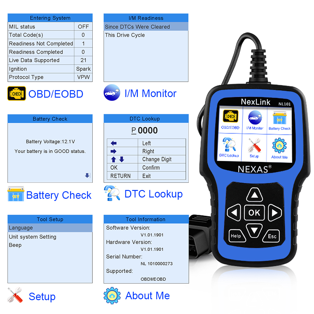 Image 3 - NEXAS NL101 OBD2 Automotive Scanner Engine EVAP Battery OBDII Scanner PK CR3001 ELM327 Professional EOBD OBD Car Diagnostic Tool-in Engine Analyzer from Automobiles & Motorcycles