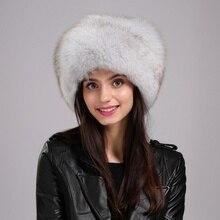 Popular Mongolia Women's Bomber Hat  Black Genuine 100% Fox Fur High Quality Fashion Special Casual Leisure Time EA4050-11