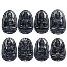 Natural Negro Obsidiana Suerte Amuleto Colgante de Collar Tallado Buda Natal Ocho Patrona Doce Zodiaco Chino Joyería de Jade