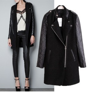 !Sexy Lady Womens Black Trench Coat Imitation Leather Sleeves Fashion Long Coats Hot Sale Brand Winter Garment Wholesale SX8967