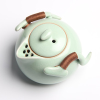Teapot Solid Color Side Ceramic Kungfu Tea Set Single Pot Hand Grip Pot Small Household Teapot With Filter 31