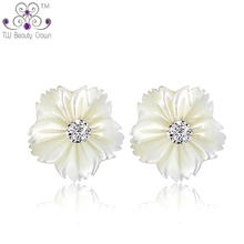Natural Pearl Shell Stud Earrings For Women Genuine Pure 925 sterling silver 2014 New Fashion Korean Jewelry Gift Girlfriend