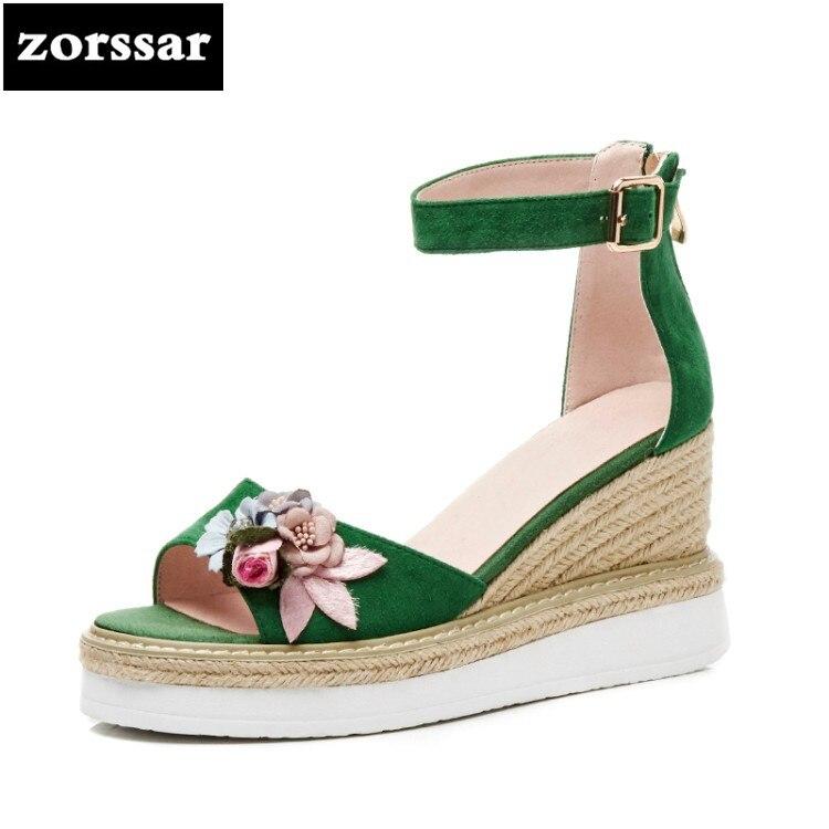 {Zorssar} 2019 mode fleurs dames chaussures d'été femmes sandales talons bout ouvert plate-forme talons hauts sandales à talons compensés femmes chaussures