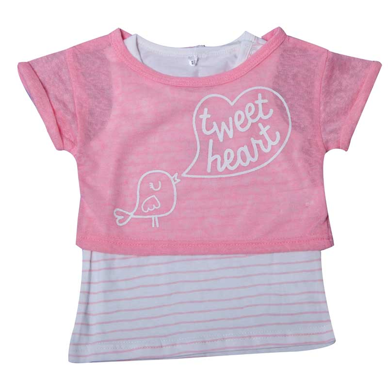 Cute Baby Girls Tops Baby Pink T-Shirt 2PCS Short Sleeve Cute Cartoon Brids Pattern Tees For Little Kids BIUE AND PINK
