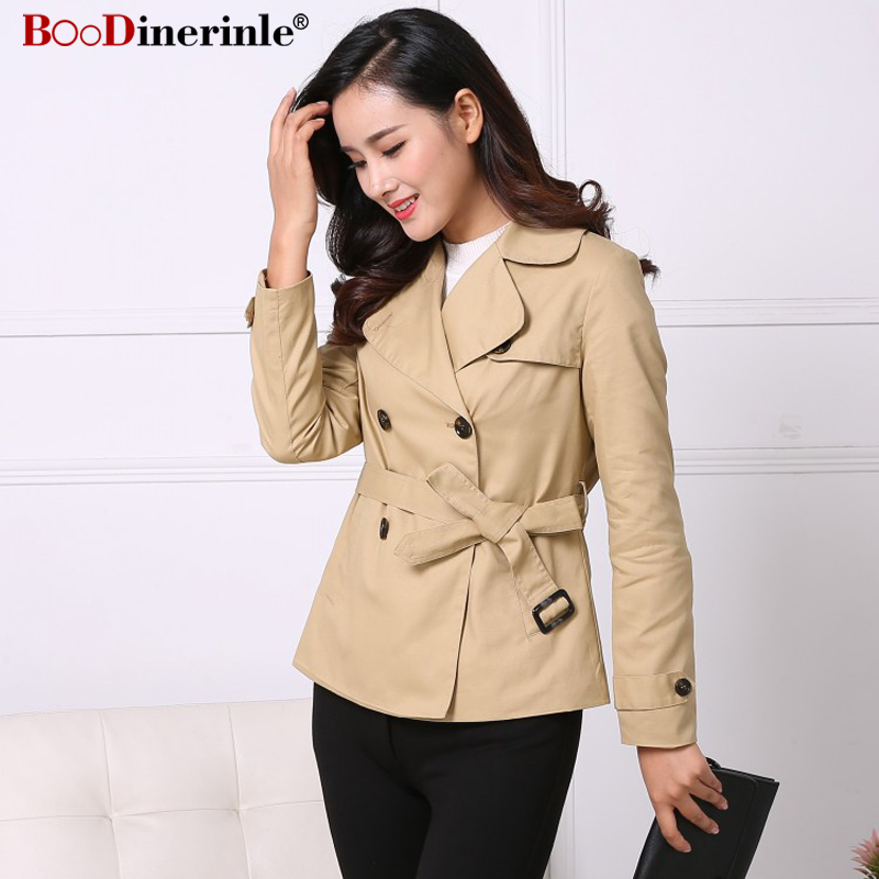 Women Autumn Coat 2018 New Large Lapel Double-breasted Short   Trench   Coat Female Quality Cotton Slim Office Lady Outwear JK058