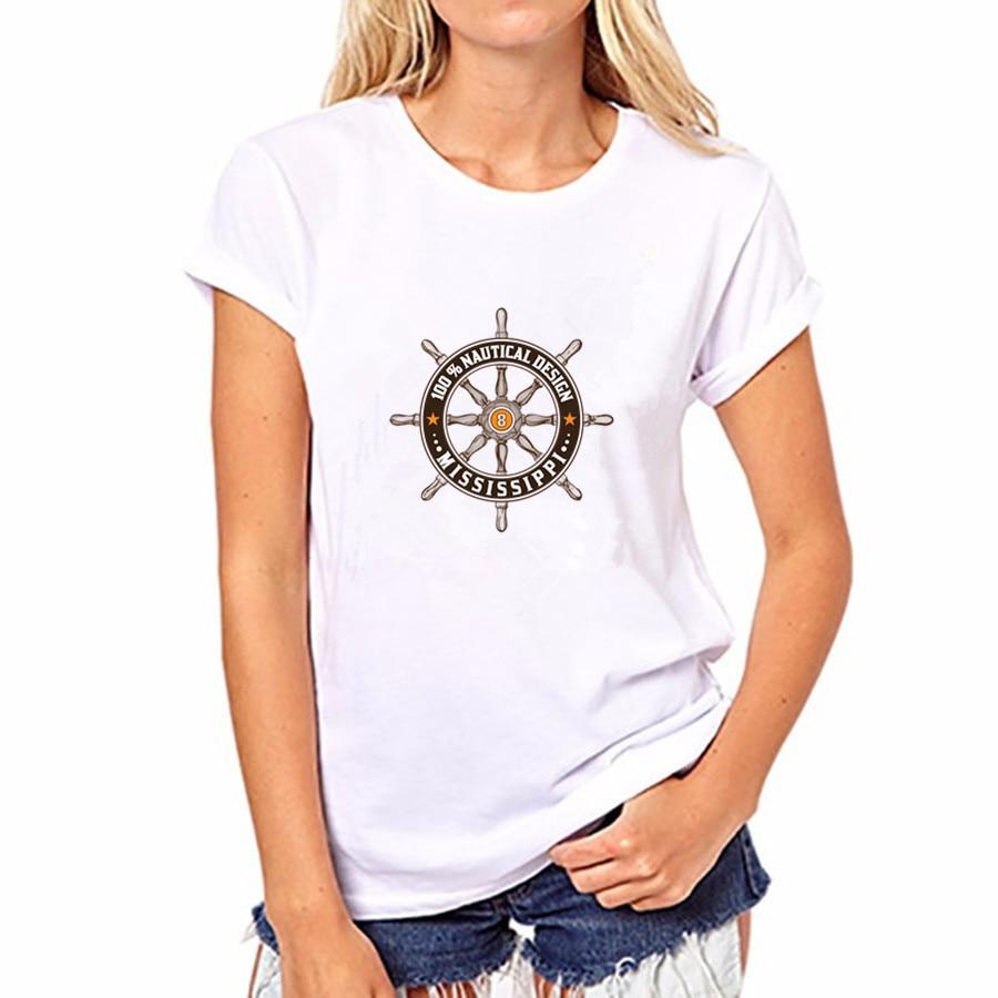 2016 Women Cotton T-shirt Casual Rudder Print 21 Colors Short Sleeved Round Neck Women Top Shirt FS44-YH61