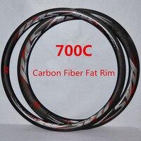Дорожный велосипед 700C углерода Ножи жира обод из углеродного волокна колесо велосипеда обода 20/24 отверстие Presta клапан анти курсор