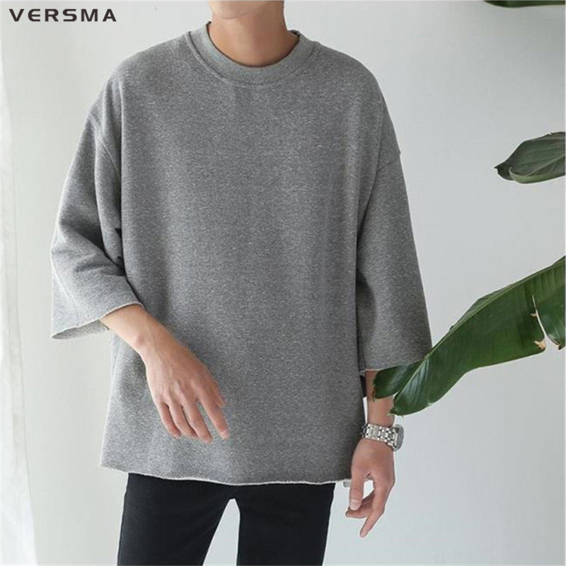 VERSMA New Fashion Justin Bieber Super Loose Oversize Vintage Black Men   T     Shirts   High Street Solid Color Bat Sleeves   T  -  shirt   Men