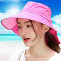 2016 Summer Korean Sun Hat Woman Defence Ultraviolet Ray Sunscreen Hat Fold Ride A Bike Sandy Beach Woman Sun Hat Will Hats CM13