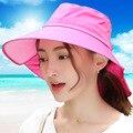 2016 verão coreano chapéu de sol mulher raio ultravioleta defesa protetor solar Hat Fold andar de bicicleta mulher chapéu de sol praia vai chapéus CM13