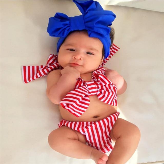 4a47d08870 Bebé chico dos pieza Halter arco traje de niño chico niñas raya Bikini  traje de baño