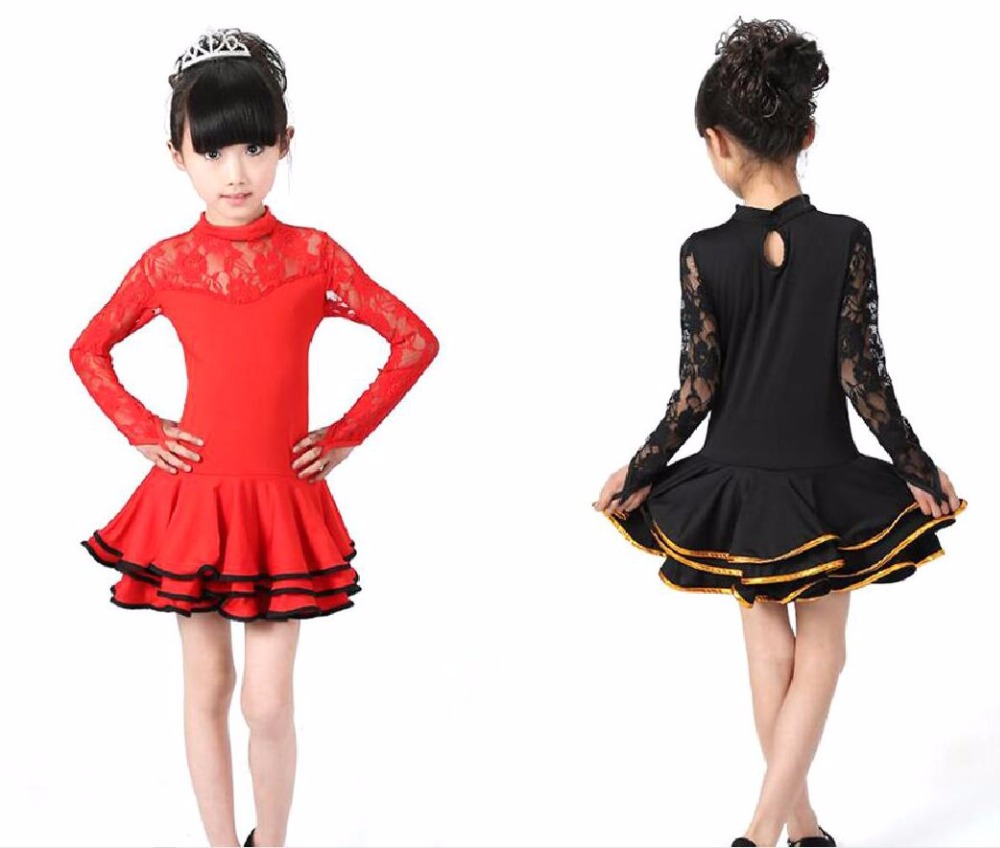 New Kid Girls Latin Dance Dress Costumes Child Long Sleeve Ballroom Costume Lace For