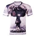 Venta caliente Nuevos hombres de la Manera 3D Impreso Camisetas de La Explosión Nube de hongo Impresión de Manga Corta Camiseta Tops Tallas grandes MC015-F