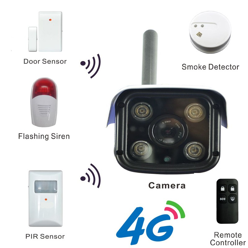 4G Mobile Bullet IP Camera with 3G/4G Network for 720P HD Live Stream & Max 256 Pcs of Wireless Alarm Sensor Supported Free APP 4g mobile bullet 1080p hd ip camera with 4g fdd lte network worldwide