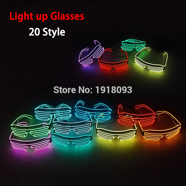 2017 New Shutter Fashionable Glasses EL Wire Novelty Lighting LED Neon Light Up Party Festival decor DC-3V Driver