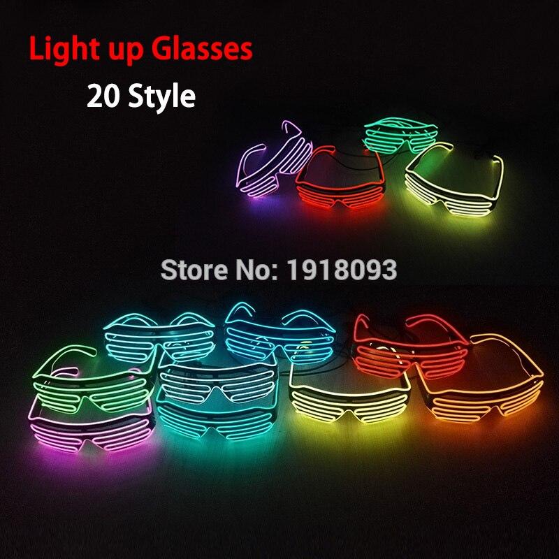 2019 New Shutter Fashionable Glasses EL Wire Novelty Lighting LED Neon Light Up Party Festival Decor DC-3V Driver