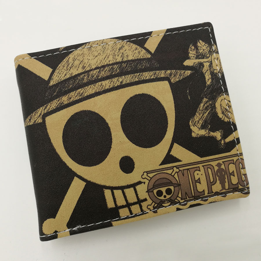 Japanese Anime One Piece Skull of Luffy Frosted PU Leather Short Folding Wallet Coin Purse japanese anime poke death note attack on titan one piece game ow short wallet with coin pocket zipper poucht billetera