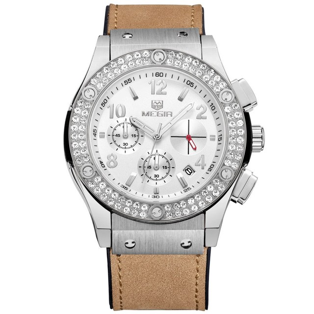 MEGIR Luxury Dress Rose Gold Diamond Crystal Watch