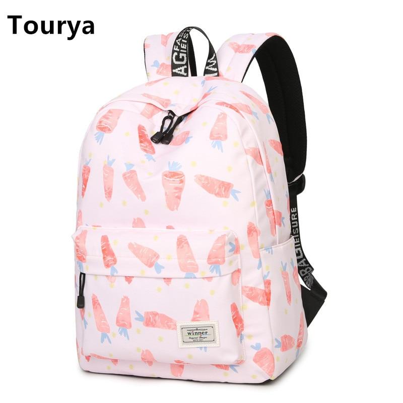 Tourya Casual Dámský batoh Školní batohy Tašky Back Pack pro teenagery Dívky Laptop batoh Cestovní taška Mochila Feminina