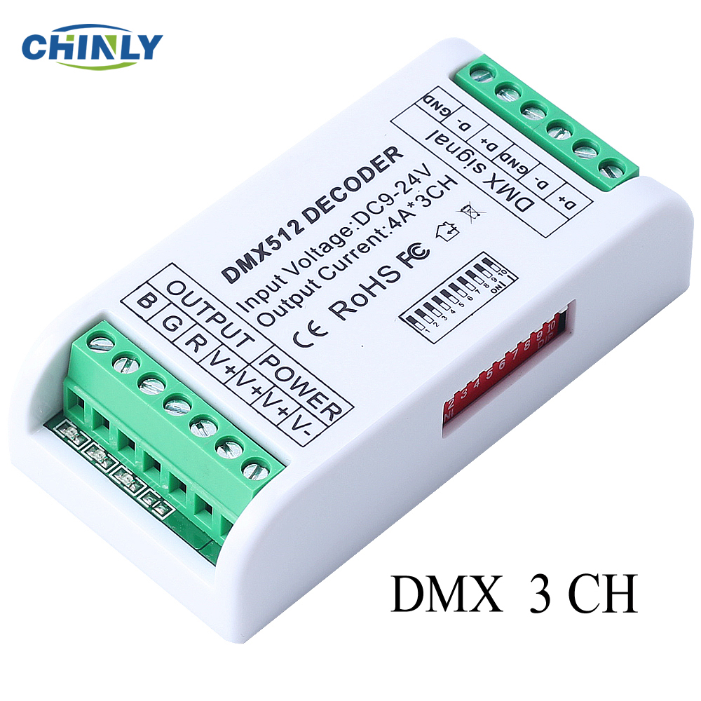 3CH DMX 512 LED Decoder Controller Dimmer 12V-24V Console Use For RGB Led Strip